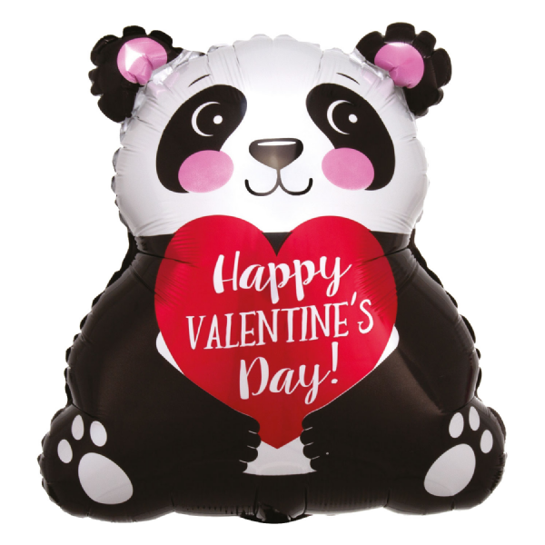 Happy Valentine's Day Panda Junior Shape XL Foil Balloon